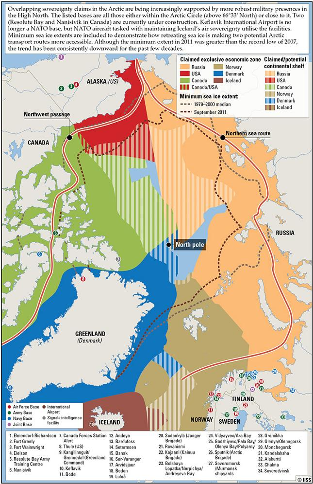 Overlapping sovereignty claims in the Arctic
