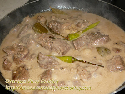 Adobong Baka sa Gata - Cooking Procedure