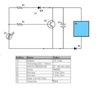 Circuit diagram for the solar garden light