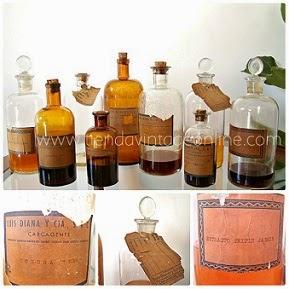 Botellas de boticario y farmacia antiguas de cristal antiguo para decoración en restaurantes o para colección.