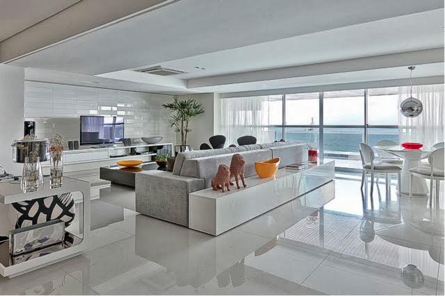 Construindo minha casa clean salas de estar e de tv for Salas modernas pequenas para apartamentos