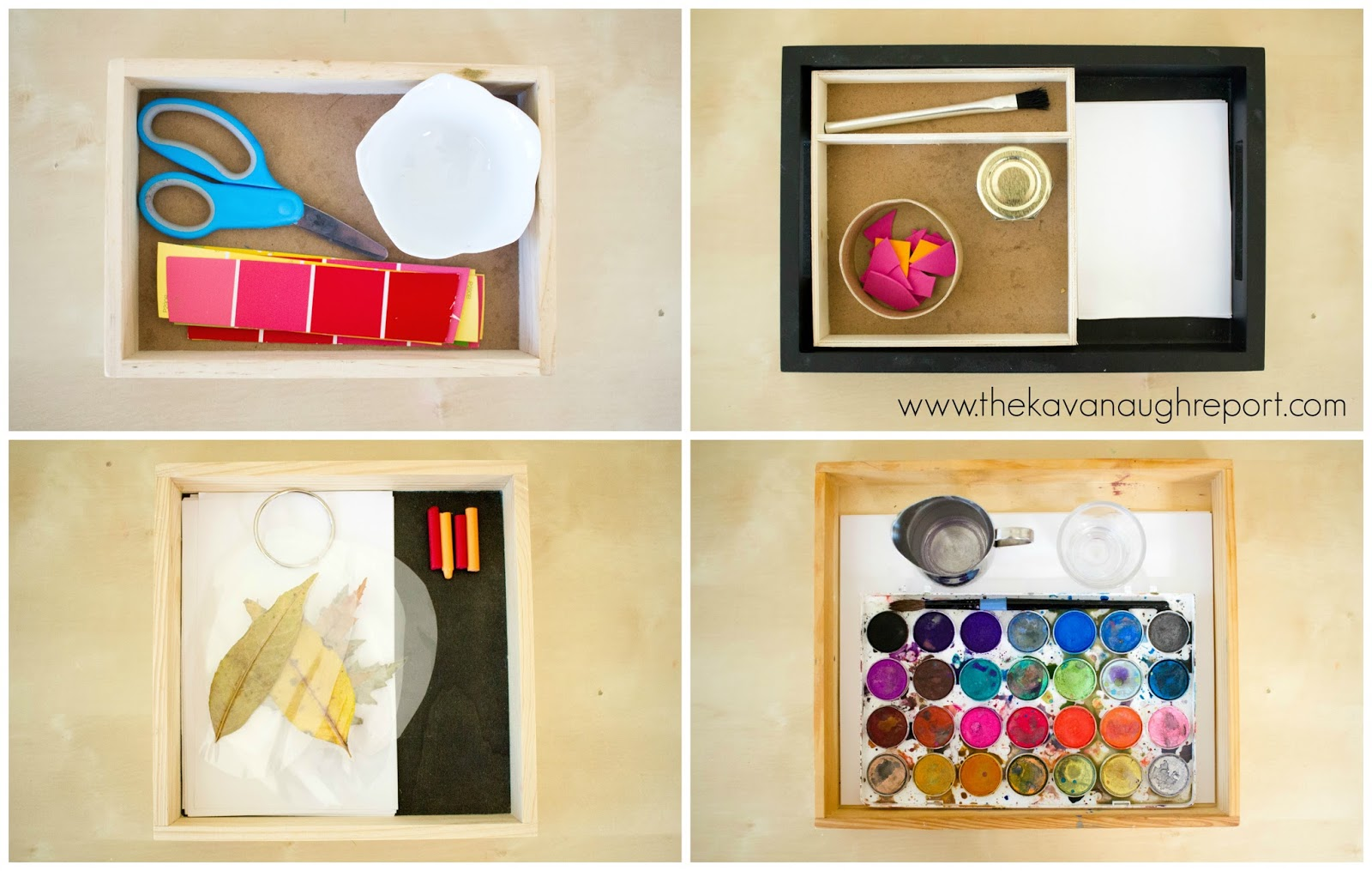 4 montessori art trays at 2 years old for Painting ideas for 4 year olds