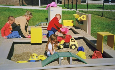 children playing in the truck pit