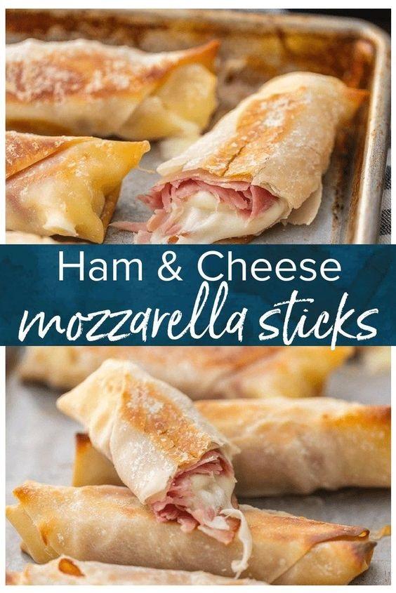 Baked Ham And Cheese Mozzarella Sticks