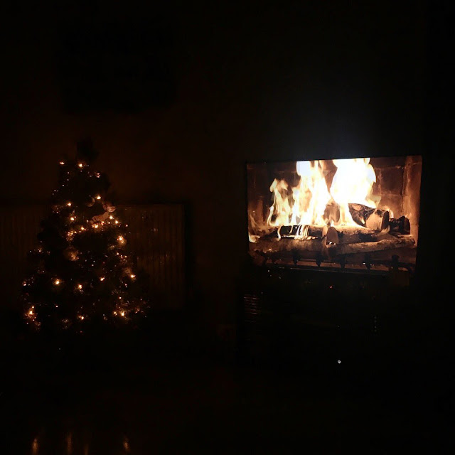 Christmas tree lit up with TV next to it, fire crackling on screen