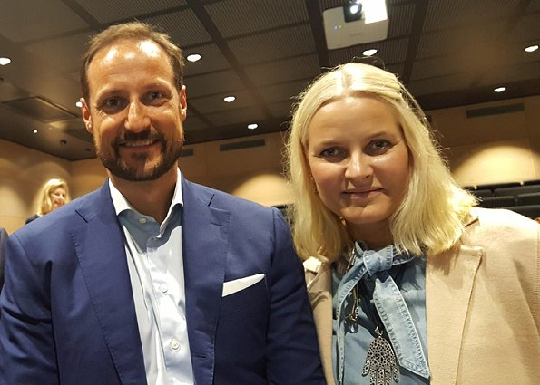 Crown Princess Mette Marit wore ULLA JOHNSON Wes-Bow Embellished Denim Blouse. Crown Prince Haakon and Crown Princess Mette-Marit