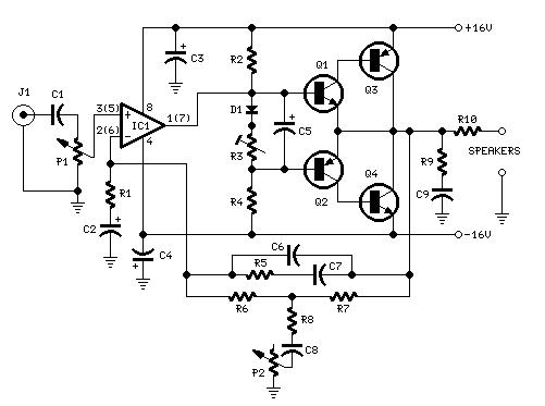 rangkaian audio amplifier 10w dengan penguat bass