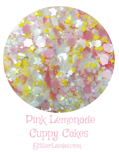 "Our ""Pink Lemonade Cuppy Cakes"" loose glitter mix has white opal hex from medium to micro, mini yellow stars, light pink daisies, tiny iridescent hex and square glitters."