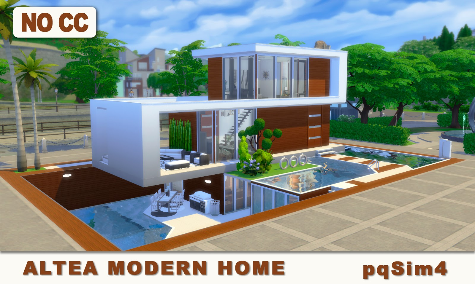 Altea modern home sims 4 speed build and download Casas modernas sims 4 paso a paso