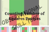 Observation Skill Test-Counting Number of Squares Puzzles