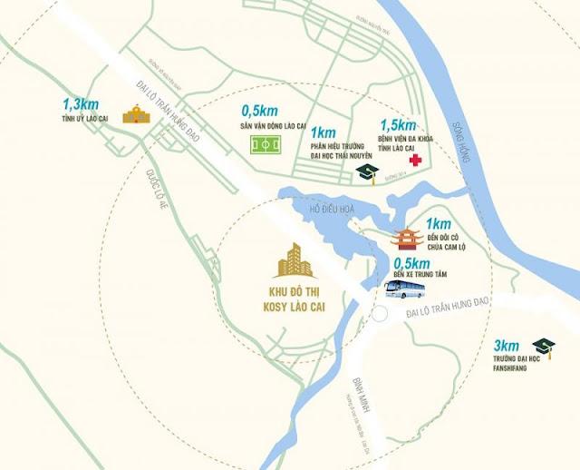 Vị trí dự án khu đô thị Kosy Lào Cai