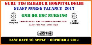 Guru Teg Bahadur Hospital Delhi Staff Nurse Vacancy