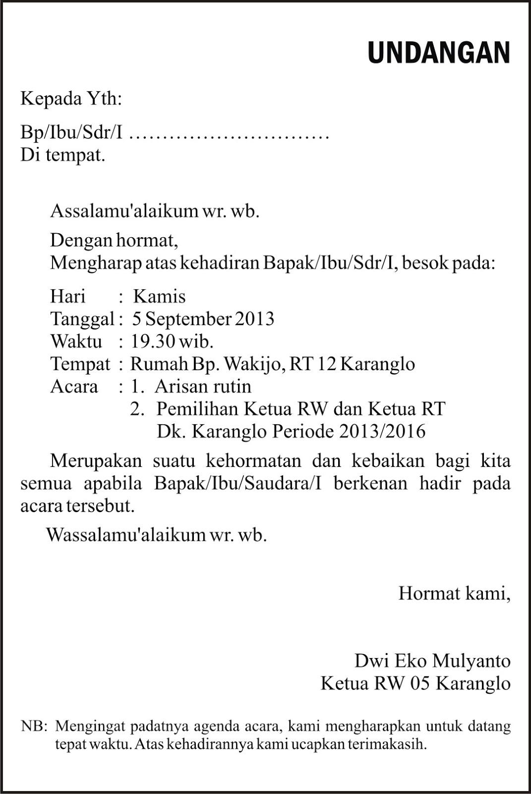 Rw 5 Karanglo Karangdukuh Contoh Undangan Rapat Pemilihan Ketua Rw