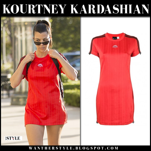 Kourtney Kardashian in red mini dress adidas originals street style june 2
