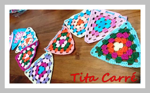 Banderinhas em crochet para uma barraquinha de criança