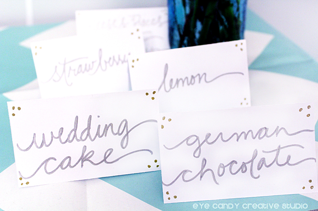 cake flavor table tents, hand lettering, wedding decor ideas, wedding signage