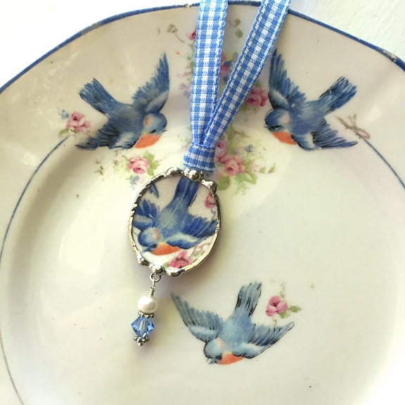 broken china jewelry bluebird