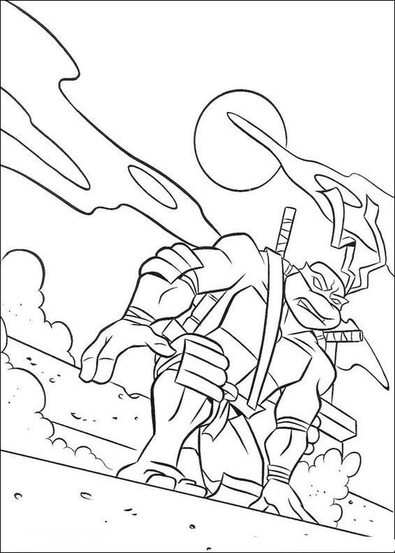 Tranh tô màu Ninja rùa 01