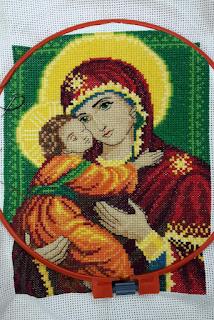 Икона, вышитая крестиком - Образ Владимирской Пр.Богородицы