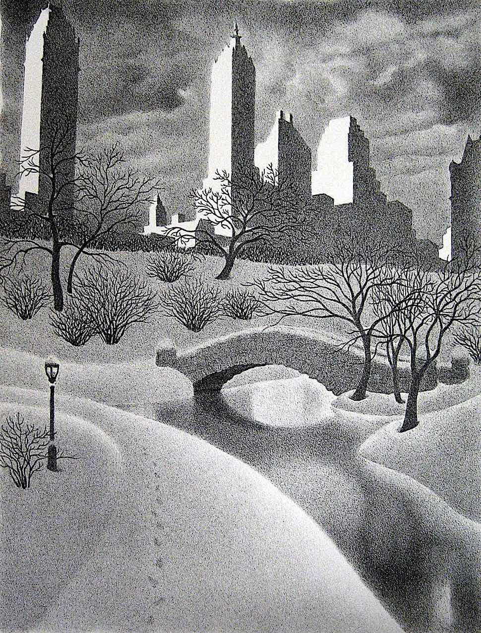 Ellison Hoover, a snowing city park at night