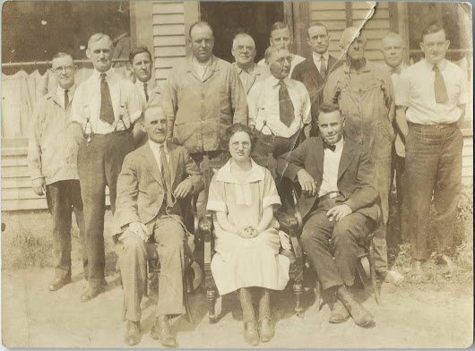 c 1930-40 Group Photograph, possibly showing employees at a Woolen Mill at Hartland, Maine or Fairfield, Maine