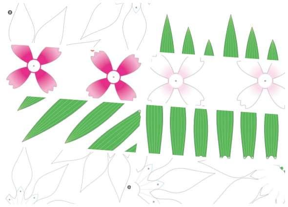 flores origami, flores papel japonesas, manualidades, flores minimalistas