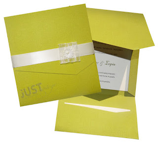 contemporary wedding invitations in lime color