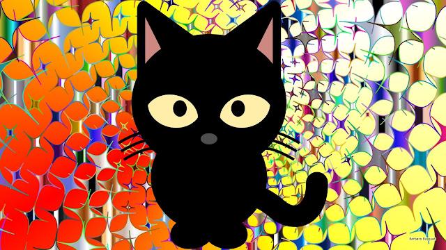 Zwarte kat op vrolijk gekleurde achtergrond.