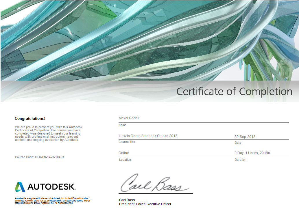 Certificate of Completion | The Secret Life of an Autodesk Systems