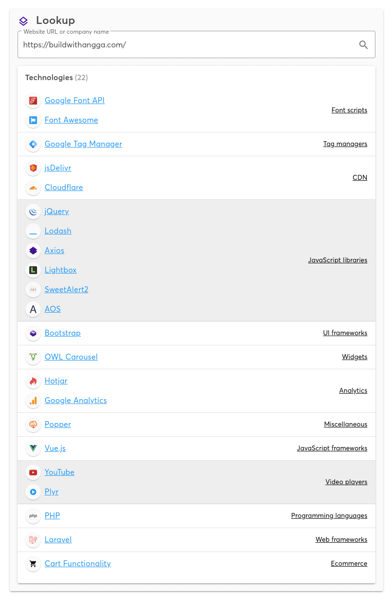 Buildwithangga Tech Stack