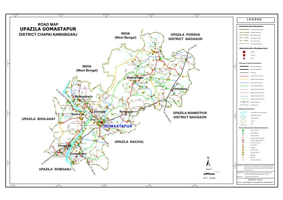 Gomostapur Upazila Road Map Nawabganj District Bangladesh