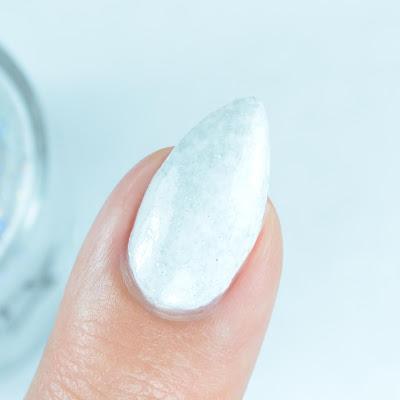 white holo nail polish close up