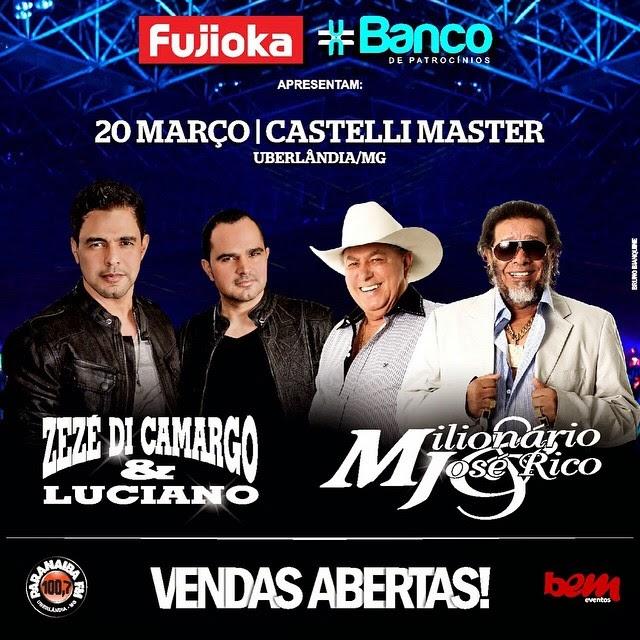a8f17ddf92e88 Fujioka presenteia clientes com ingressos para show de Zezé Di Camargo e  Luciano e Milionário e José Rico em Uberlândia