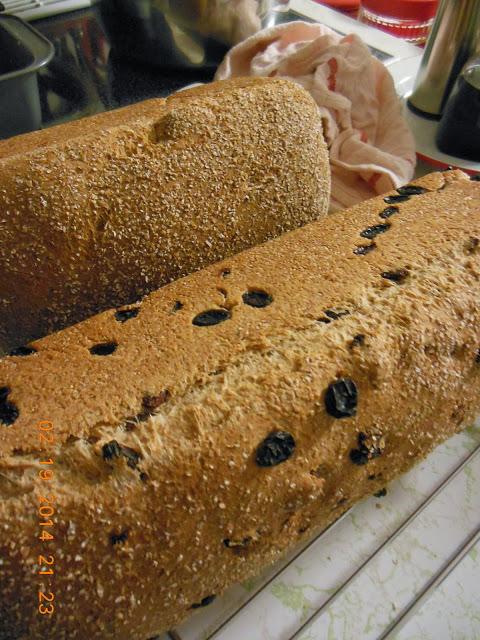 Wheat and Honey Loaves, one raisin, one plain.