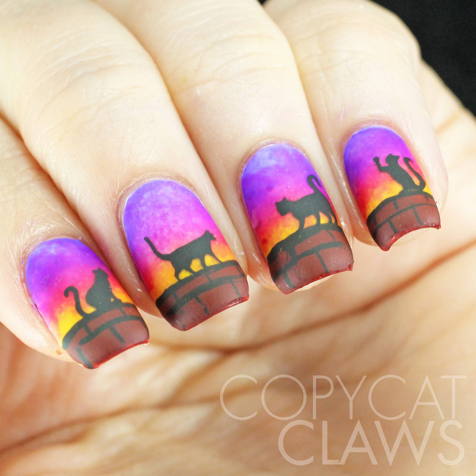 Copycat Claws: Cats at Sunset Nail Art