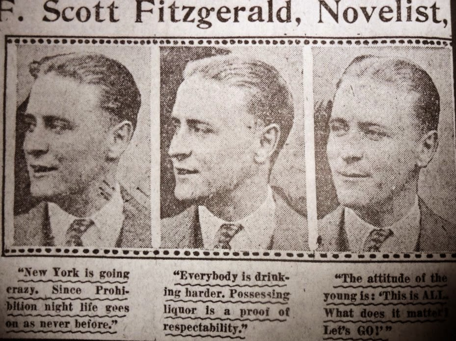 Pics of F Scott Fitzgerald in a newspaper F Scott Fitzgerald - newspaper