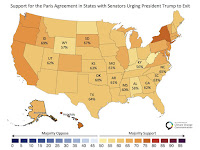Support for the Paris Agreement in States with Senators Urging President Trump to Exit (Credit: Yale Program on Climate Change Communication) Click to Enlarge.