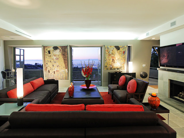 Photo of living room interiors with black and red leather furniture