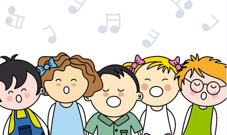 Kids Singing Clipart A l'encre violette: PO...