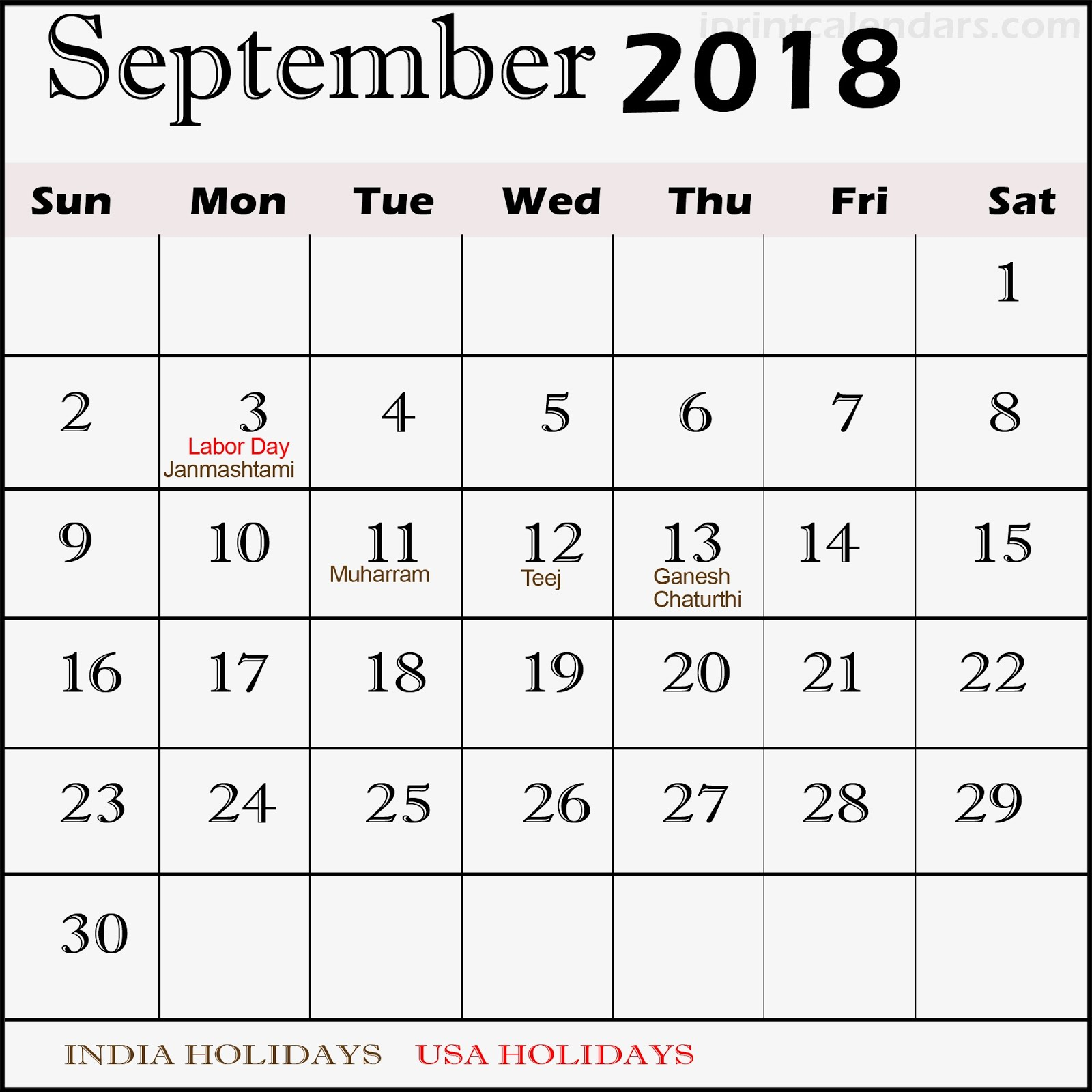 September 2018 Holiday Calendar