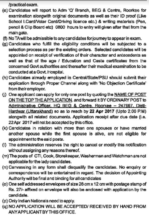 HQ Bengal Engineer Group (BEG) & Centre Roorkee Recruitment 2017