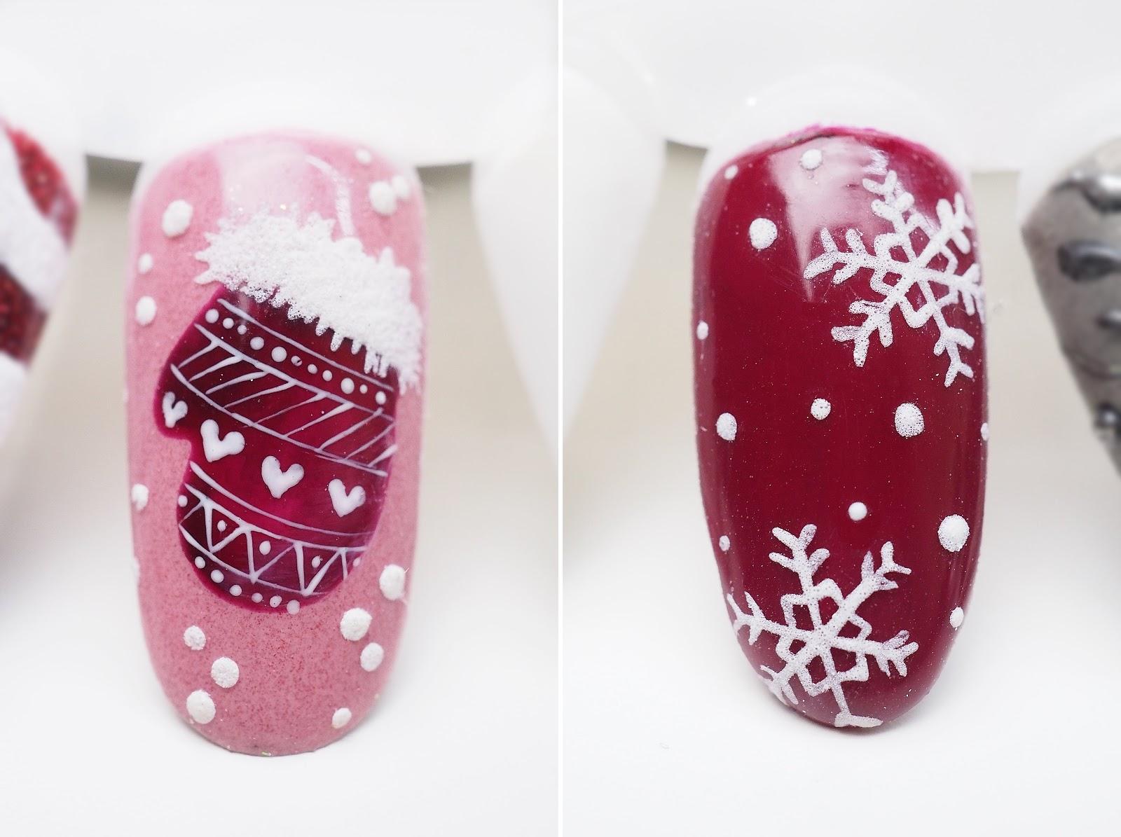 jak zrobić śnieżynki na paznokciach