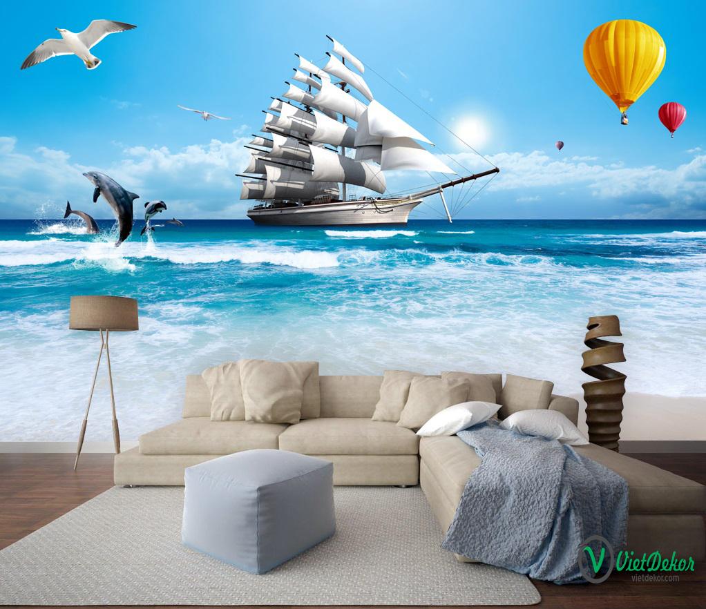 Tranh dán tường 3d phong cảnh biển thuận buồm xuôi gió cá heo