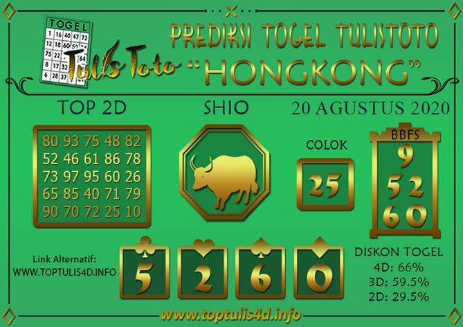 Prediksi Togel HONGKONG TULISTOTO 20 AGUSTUS 2020