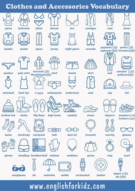 Clothes and accessories vocabulary for ESL students in pictures