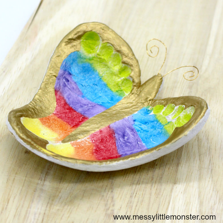 Clay footprint ring dish - a beautiful diy butterfly keepsake craft