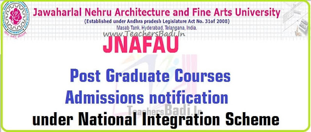 JNAFAU,PG Courses Admissions,National Integration Scheme