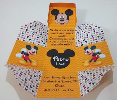 2-convite personalizado na caixinha do desenho mickey