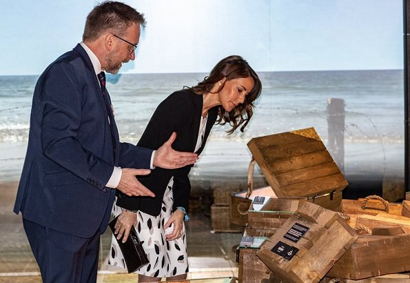 Princess Marie wore Hugo Boss Dikita Patterned dress, Giorgio Armani blazer, and carried Armani clutch
