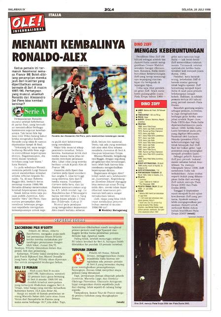 SERIE A 1998 ALESSANDRO DEL PIERO JUVENTUS RONALDO INTER MILAN